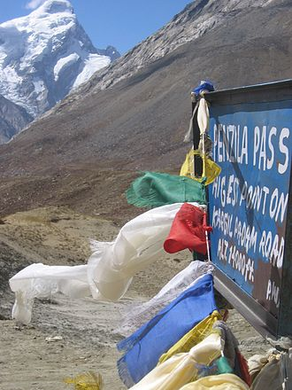 Pensi La - Buddhist prayer flags flutter at the highest point of the road pass