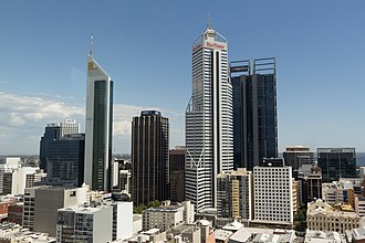 140 St Georges Terrace - The tower seen in the centre of this photo, nestled between 108 St Georges Terrace and Central Park