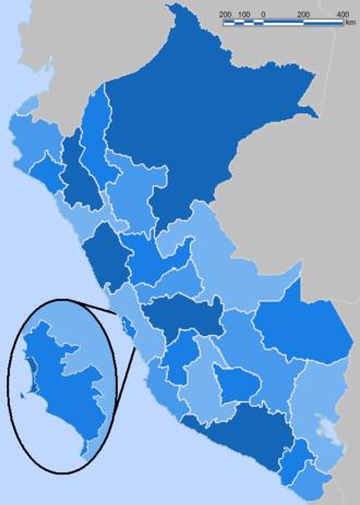 Regions of Peru - Image: Peru Blue Administrative Base Map