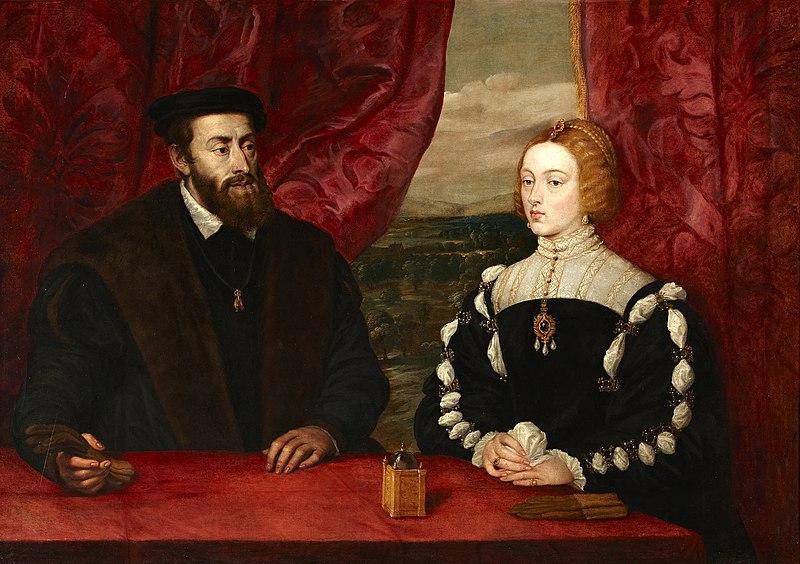 Carlos I y su esposa Isabel de Portugal.