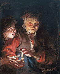 Old Woman and Boy with Candles
