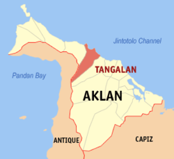 Map of Aklan with Tangalan highlighted
