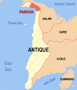 Mapa ti Antique a mangipakita ti lokasion ti Pandan, Antique.