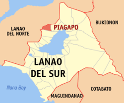 Map of Lanao del Sur with Piagapo highlighted