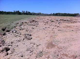 2011 Super Outbreak - Extremely deep ground scouring near Philadelphia, Mississippi caused by a fast-moving EF5 tornado that killed three people.