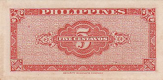 Banknotes of the Philippine peso - 5 centavos