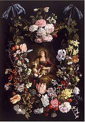 Heilige Dorothea van Caesarea in een bloemenkrans