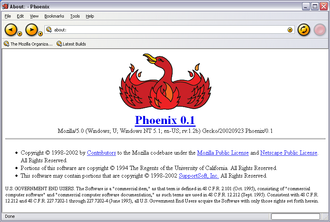 Firefox - Phoenix 0.1 screenshot on Windows XP
