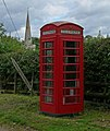 Phone box and church, Saxelbye - geograph.org.uk - 909658.jpg