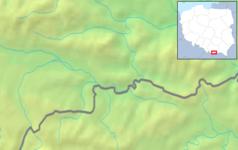 """Mapa konturowa Pienin, po prawej nieco na dole znajduje się czarny trójkącik z opisem """"Wierchliczka"""""""
