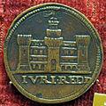 Pier maria serbaldi da pescia, medaglia di giulio II, verso con edificio merlato.JPG