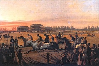 """First regular horse racing on Pola Mokotowskie in Warsaw"" January Suchodolski 1849. Pierwsze wyscigi.jpg"