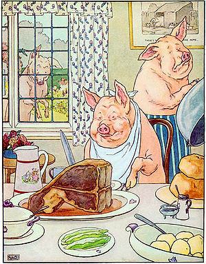 English: A picture depicting the pig who had r...