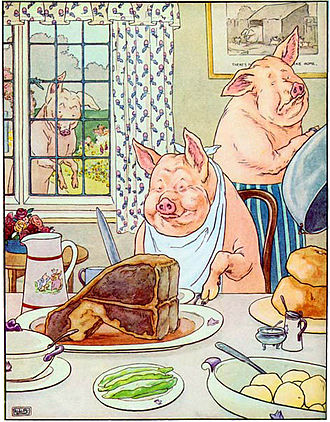 "This Little Piggy - ""... This little piggy had roast beef..."""