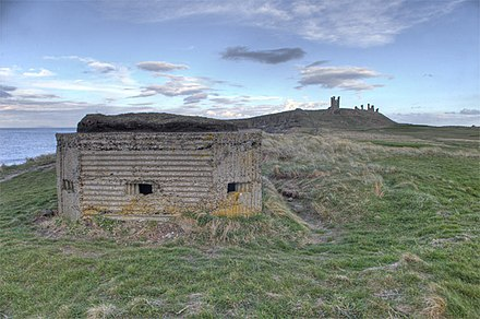 A type 24 concrete pillbox from the Second World War, positioned north of the castle Pillbox overlooking Embleton Bay, north of Dunstanburgh Castle - geograph.org.uk - 818577.jpg