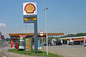 Typical Brazilian fuel station with a choice o...