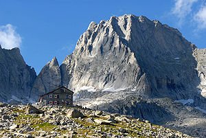 Bregaglia Range - Image: Pizzo Badile and Capanna Giannetti Val Masino Italy