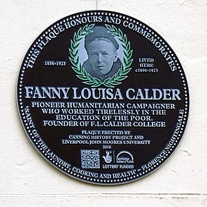 Fanny Calder - plaque in Calder St