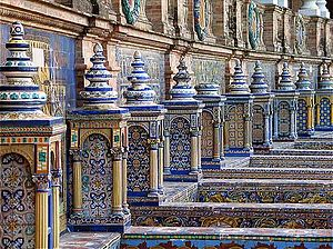 Plaza de España, Seville - The tiled Provincial Alcoves along the walls of the Plaza de España.