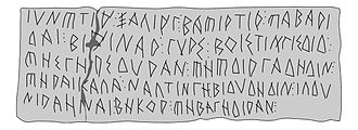 Sampi - Graeco-Iberian lead plaque from la Serreta (Alcoi), showing the Iberian form of sampi.