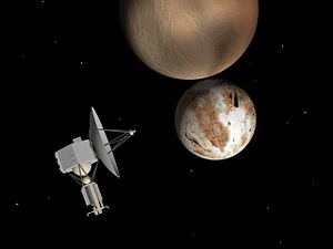 Pluto Kuiper Express - Artist's impression of the Pluto Kuiper Express spacecraft as it encounters the Pluto-Charon system.
