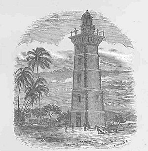 1769 Transit of Venus observed from Tahiti - Image: Point Venus Lighthouse, Tahiti (LMS, 1869, p.)