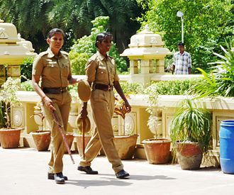 Women in law enforcement - Police women in Chennai, India in 2010