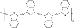 Benzotriazole - Chemical structure of the coordination polymer from benzotriazolate and copper(I), the active ingredient in the BT-derived corrosion inhibition.