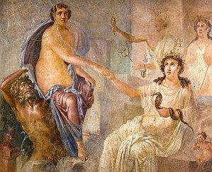 Interpretatio graeca - The goddess Isis (seated right) welcoming the Greek heroine Io into Egypt, as depicted in a Roman wall painting from Pompeii