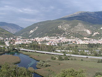 Popoli - The source of the Pescara with the town of Popoli in the background.