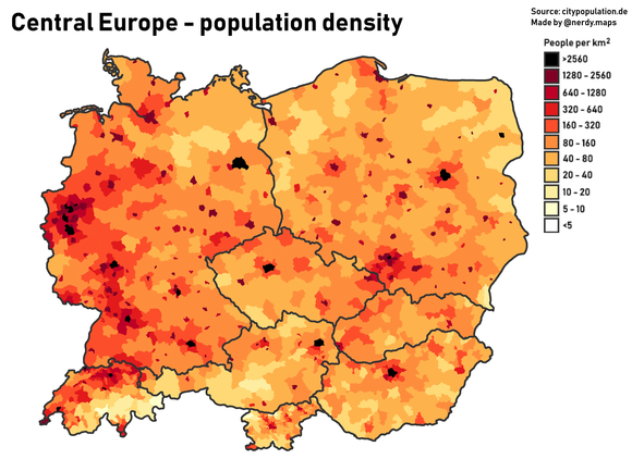 Population density in Central European countries Population density in Central Europe.png
