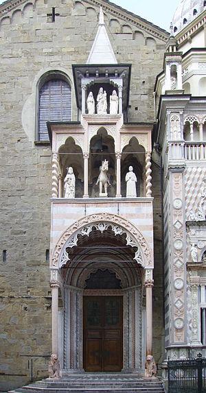 Santa Maria Maggiore, Bergamo - Giovanni da Campione's porch on the left transept.