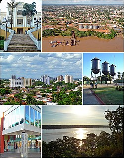 Tap left:Rondonia State Government Office, Tap richt:Port o Porto Velho, Middle left:Porto Velho Cultural Hoose, Middle richt:Sunset in Madeira River, Bottom:Panorama view o downtoun frae Pedrinhas aurie