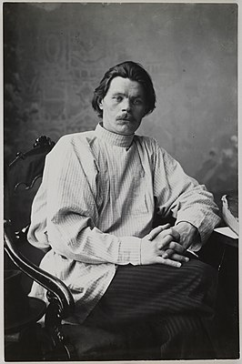 Portrait of Maxim Gorky sitting in an armchair wearing a light shirt. (14728267252).jpg