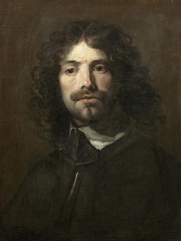 Portrait of the artist, bust length in a black tunic and white collar