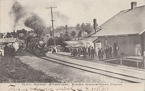 East Hampton, Connecticut - Railroad station, about 1907