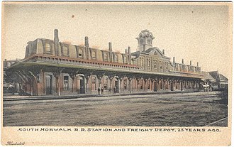 Danbury and Norwalk Railroad - South Norwalk station, from a postcard printed in the early 1900s
