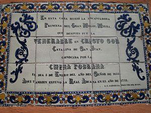 Catarina de San Juan - Pottery sign at the house of Catalina de San Juan in Puebla