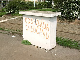 2010 Czech legislative election - Anti-ODS graffiti in Prague