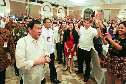 Duterte meets with the Filipino community in Jakarta, September 9, 2016. President Rodrigo Duterte meets with Filipino community in Indonesia during his working visit in the country on September 9 (3).jpg
