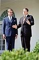 President Ronald Reagan with President Mauno Koivisto of Finland in the Rose Garden.jpg