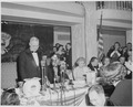 President Truman standing at microphone at the dinner honoring him and Vice President Alben Barkley at the Mayflower... - NARA - 200015.tif