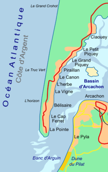 Map showing the location of Cap Ferret