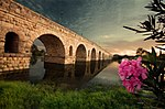 Künstlerische Photographie der Puente Romano in Mérida