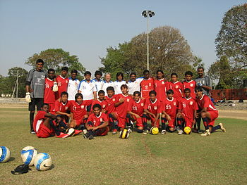 English: Team photo of the Indian Football tea...