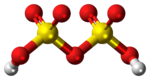 Ball and stick model of the disulfuric acid molecule