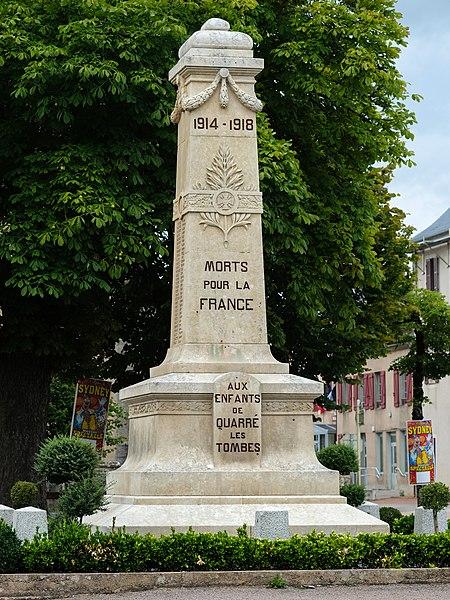 War memorial WW I, Quarré-les-Tombes, Département Yonne, Bourgogne-Franche-Comté, France
