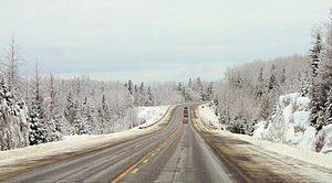 Quebec Route 109 - Typical winter scenery of Route 109 between Saint-Dominique-du-Rosaire and Matagami