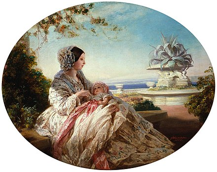 A painting of Queen Victoria with Prince Arthur by Franz Xaver Winterhalter. Queen Victoria with Prince Arthur.jpg