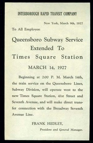 IRT Flushing Line - Queensboro Subway Service Extended To Times Square station 1927